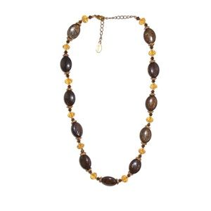 Beaded Necklace Brown Amber Orange Adjustable